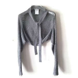 MaxMara shrug cardigan cashmere gray sz Large